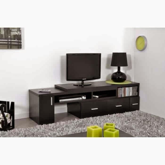 Meuble tv noir rangement meuble tv - Meuble tv angle noir ...