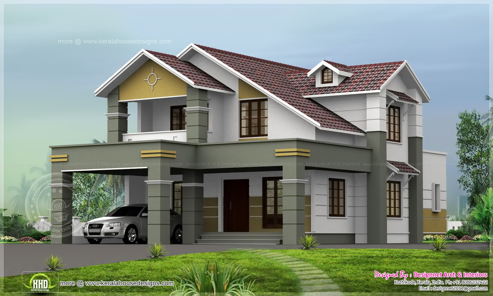 2200 sq ft house design in 8 cent plot kerala home