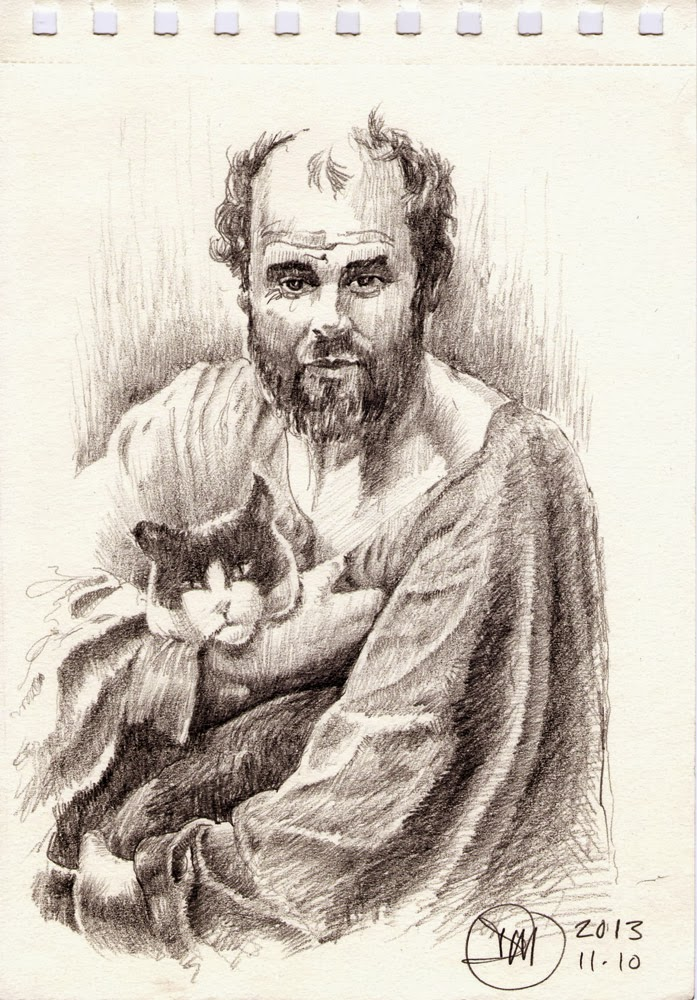 Sketch of Gustav Klimt by David Meldrum