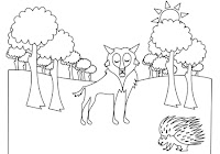 Wolf and porcupine in free forest animals coloring book by Robert Aaron Wiley for Microsoft Office Online