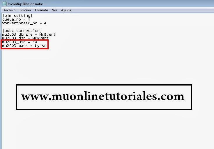 Configurador eventserver con datos sql