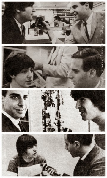 Collage with Larry Kane and the Beatles in 1964