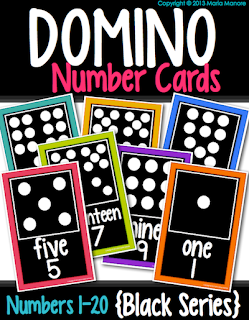 domino number cards for kindergarten or first grade classroom with number word