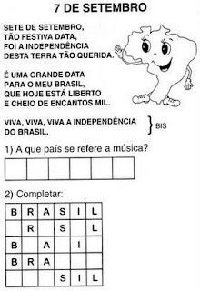 DESENHOS E ATIVIDADES 7 DE SETEMBRO - INDEPENDÊNCIA DO BRASIL