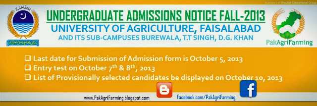 UAF undergraduate Admission Notice 2013-14 in all campuses