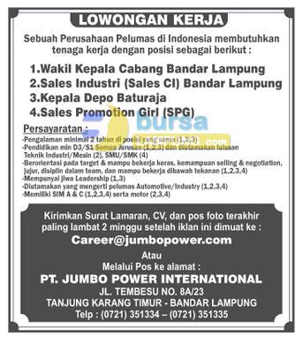 Lowongan Kerja Lampung Terbaru Januari 2015 di Perusahaan besar di Lampung PT. Jumbo Power International