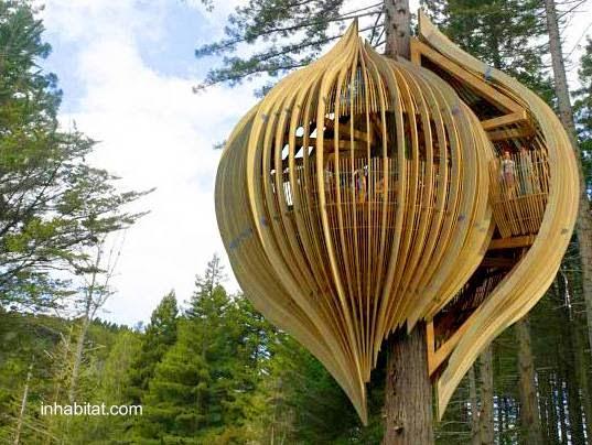 Sofisticada casa del árbol orgánica en Nueva Zelanda