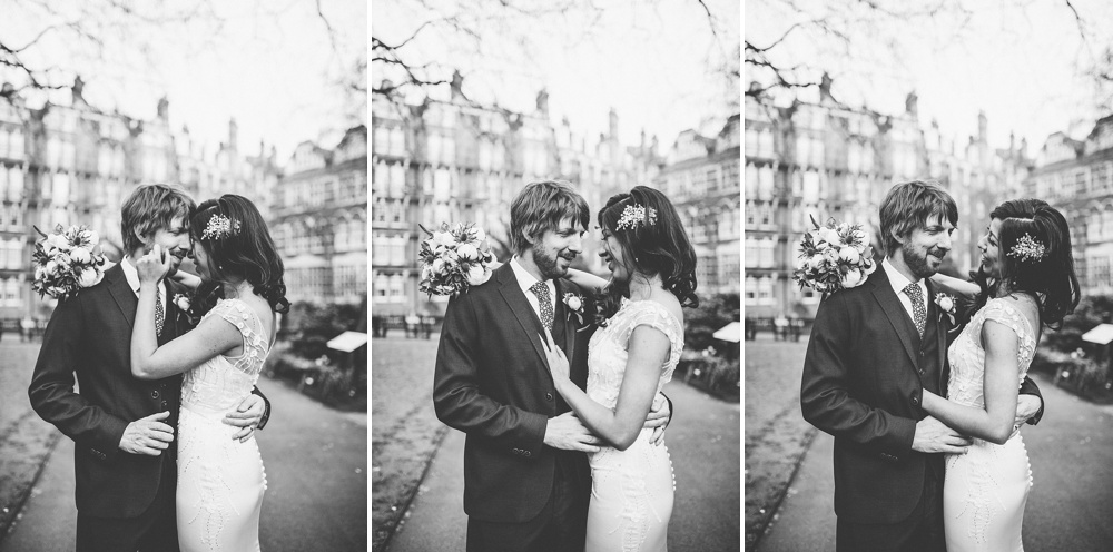 black and white photographs of couple during their wedding photos in central london