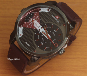 Jam Tangan Swiss Army Dualtime SA620 Dark Red Leather