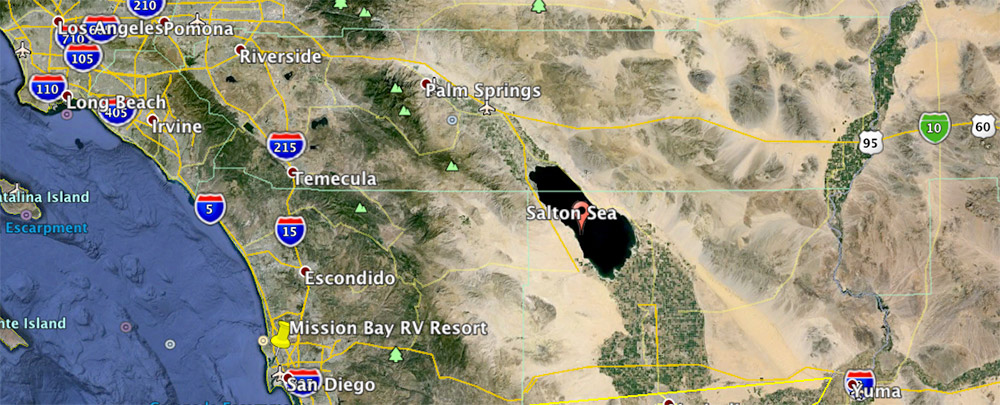 Although Google Earth Put The Red Bubble In Sea We Are Actually On East Side Of It This Area Is Called Imperial Valley And You Can See