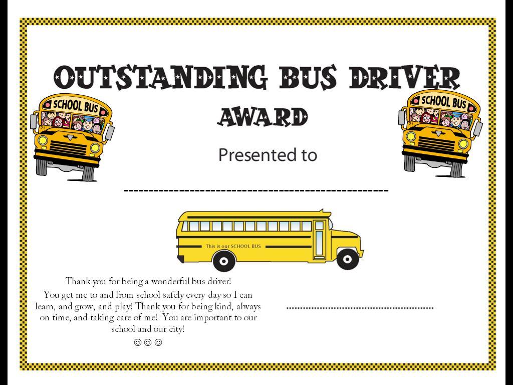 Bus Driver Appreciation Certificate Cards Birthday Free . School Bus ...