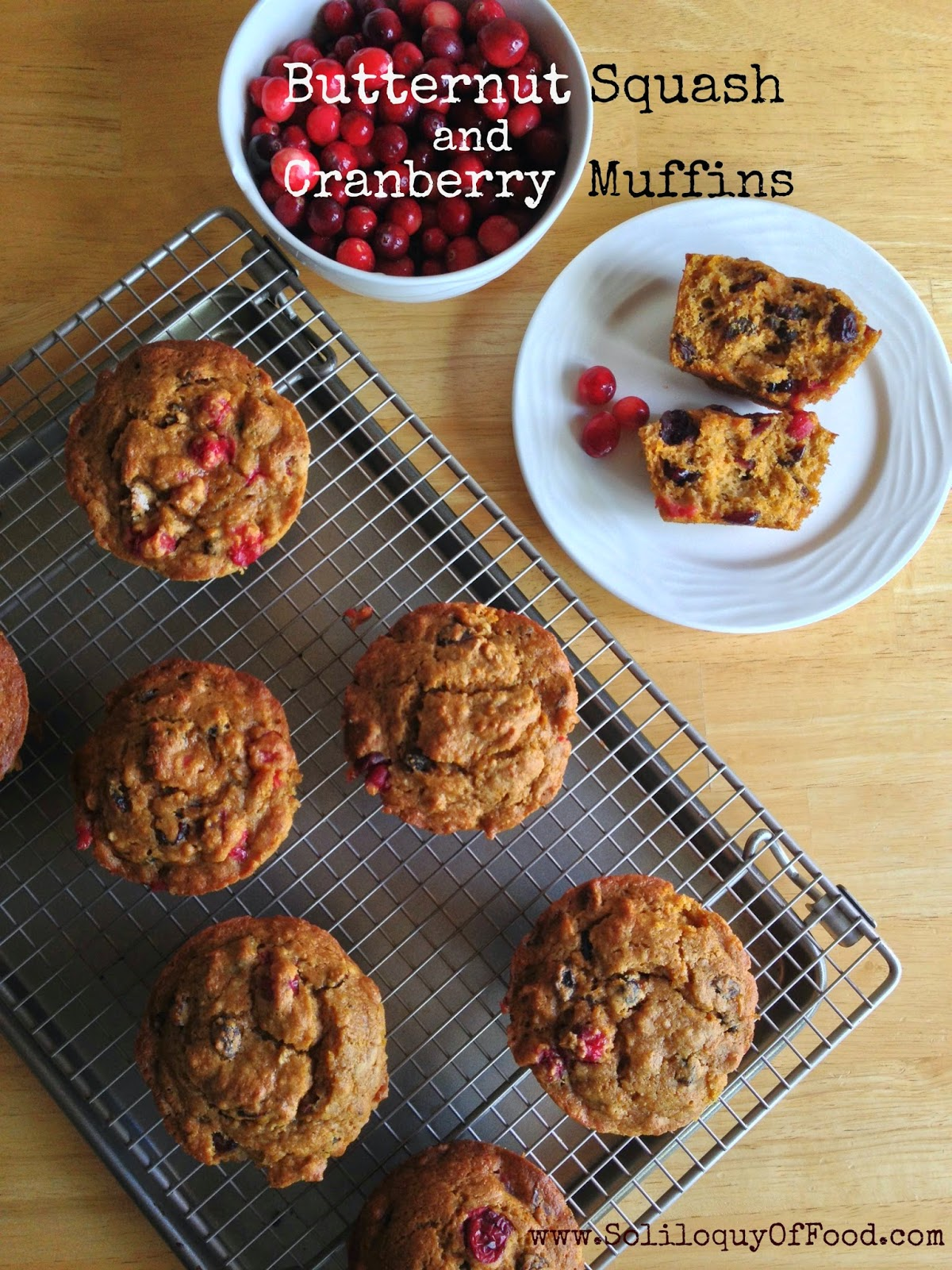 Butternut Squash & Cranberry Muffins ~ www.soliloquyoffood.com