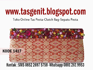 tas pesta songket, clutch bag etnik, clutch bag indonesia, dompet pesta unik
