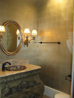 silver leafed walls, metallic painted vanity