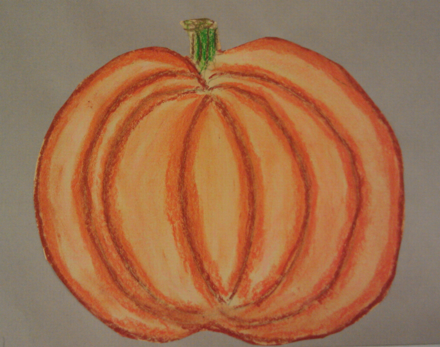 pumpkin drawing with shading. oil pastel pumpkins- shading to show shape and form pumpkin drawing with