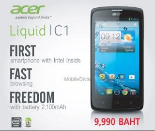 Acer Liquid C1, Smartphone Android Dengan Sokongan Intel Atom