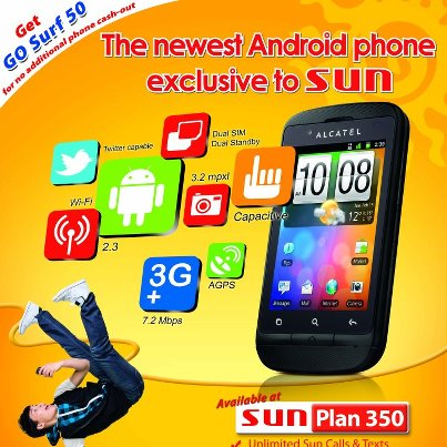 Sun cellular offers free alcatel glory with plan 350 and for Sun mobile plan
