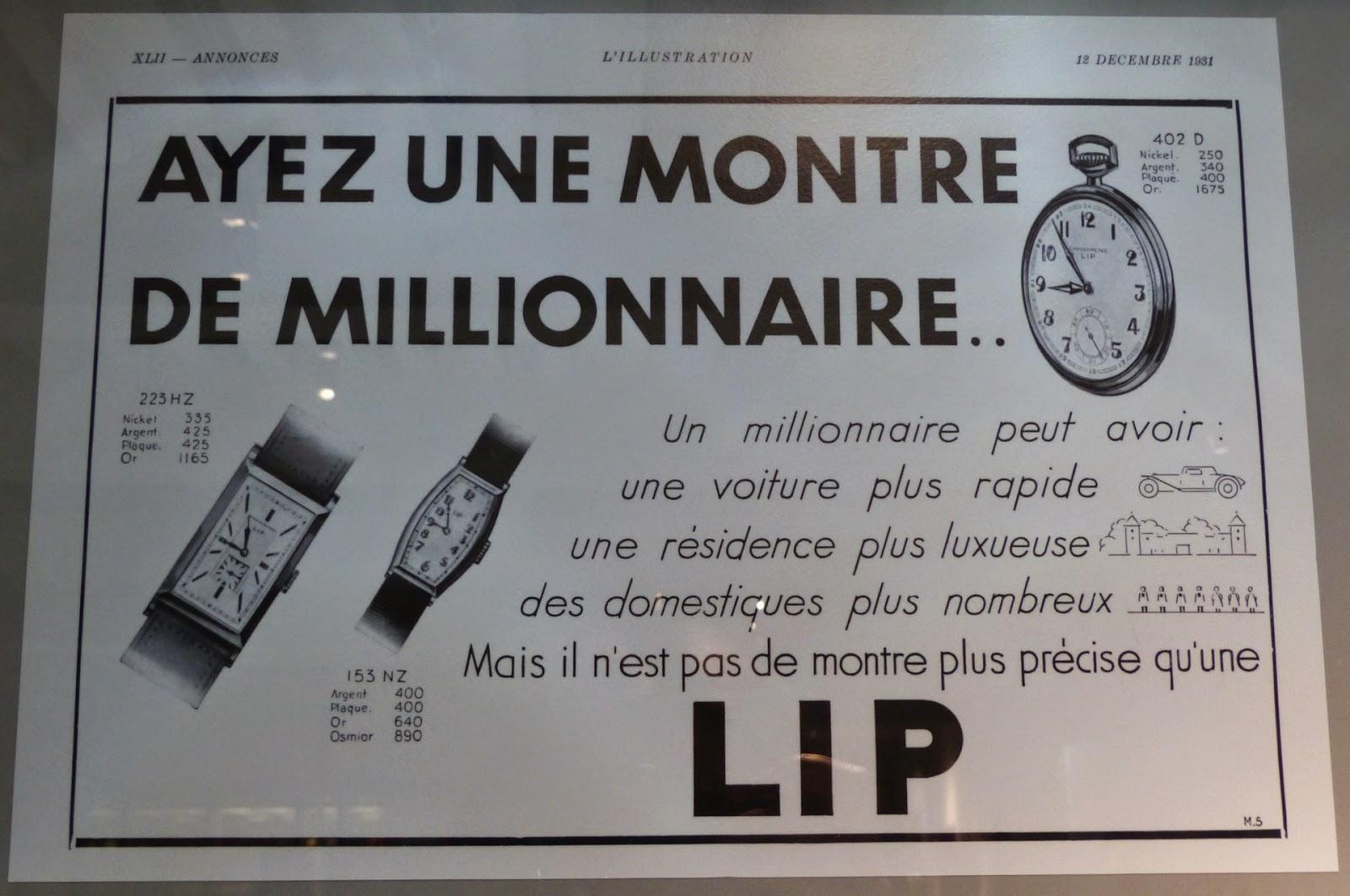 publicité montre Lip de 1931