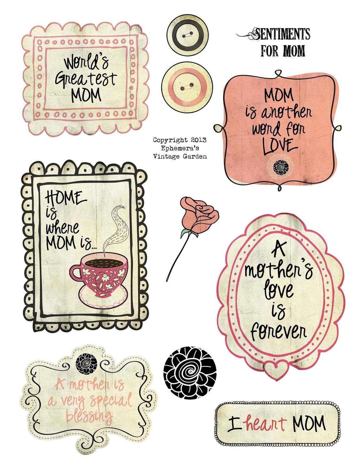 Ephemeras Vintage Garden: Free Printable - Doodle Sentiments For Mom