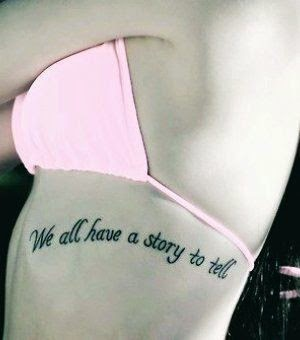 Quote Tattoos for Girls - Hot Pink Side Rib Quote Tattoos for Girls