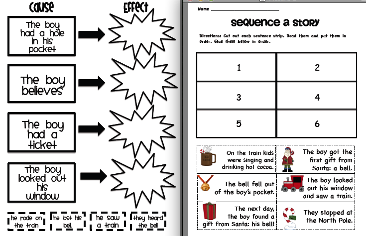 Sarahs First Grade Snippets Polar Express Pack – Cause and Effect Kindergarten Worksheets