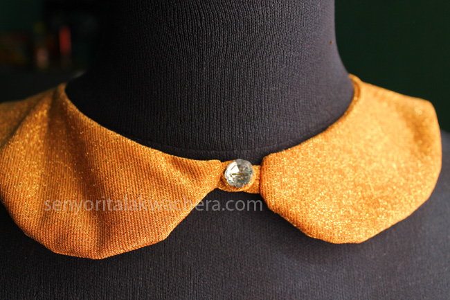 DIY Detachable Collar, Gold Detachable Collar, baby collar, gold collar, unique collar, collar with crystal buttons, collar for chicks, fashionable collar, quirky collar, bubbly collar, collar design, how to create collar, collar pattern, DIY collar, modern collar design, modern collar look, royal collar, sequenced collar