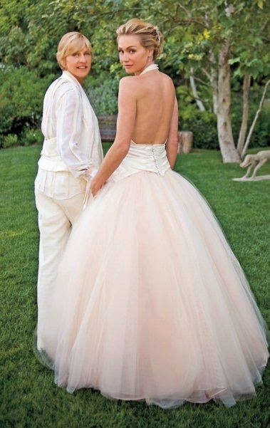 Portia De Rossi Wedding Dress - Affordable Pink Wedding Dresses - Celebrities