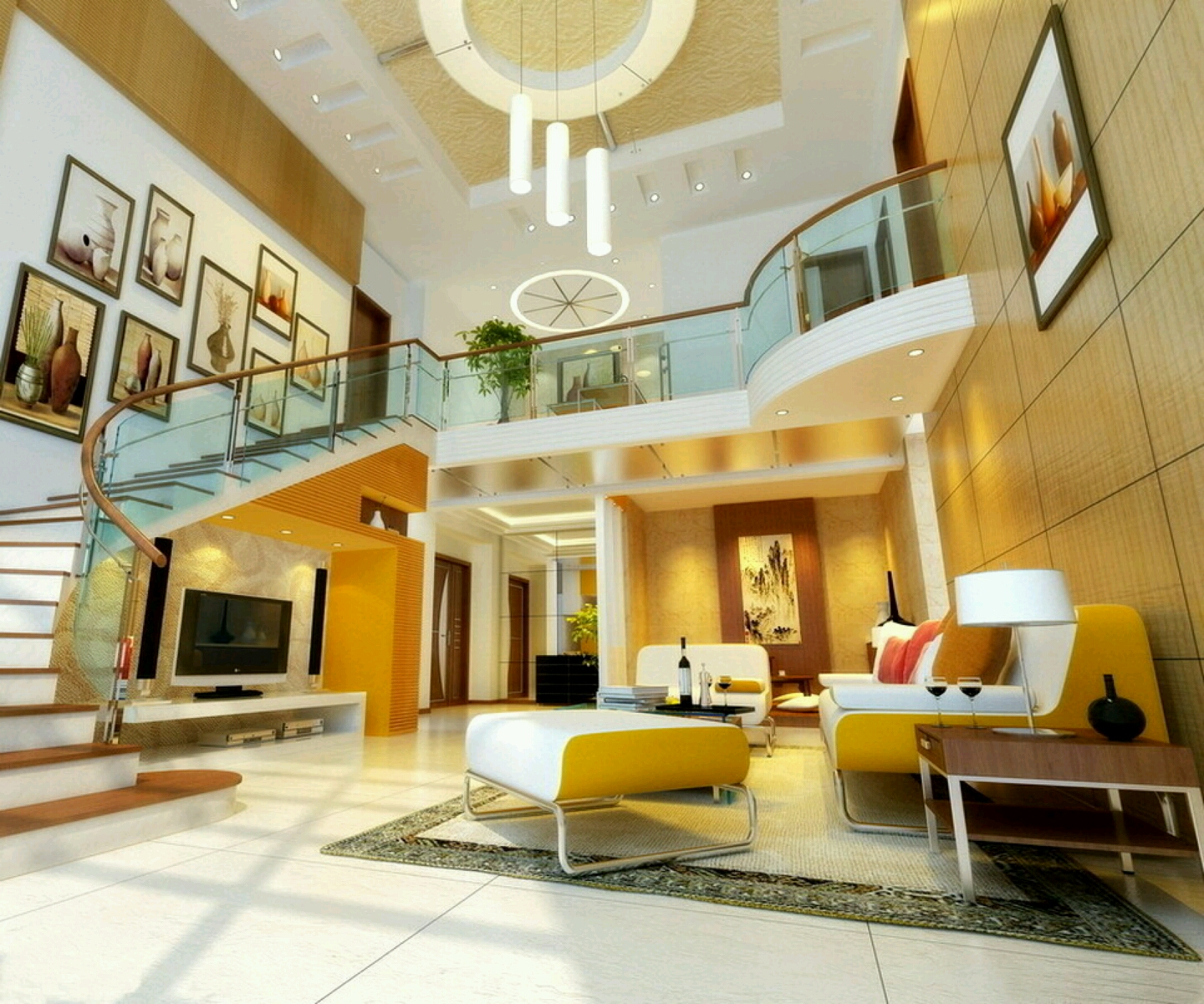 Modern interior decoration living rooms ceiling designs for Interior decoration for living room