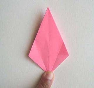 cara membuat origami lily