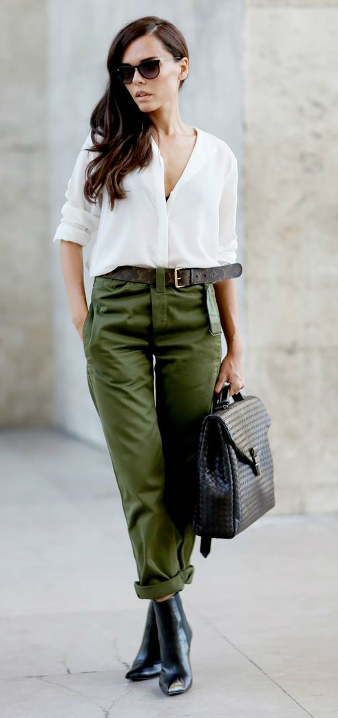 calca verde militar look