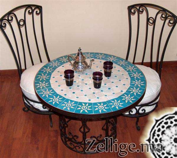 table zellige ronde zellige marocain carreaux zelliges moroccan zellij. Black Bedroom Furniture Sets. Home Design Ideas