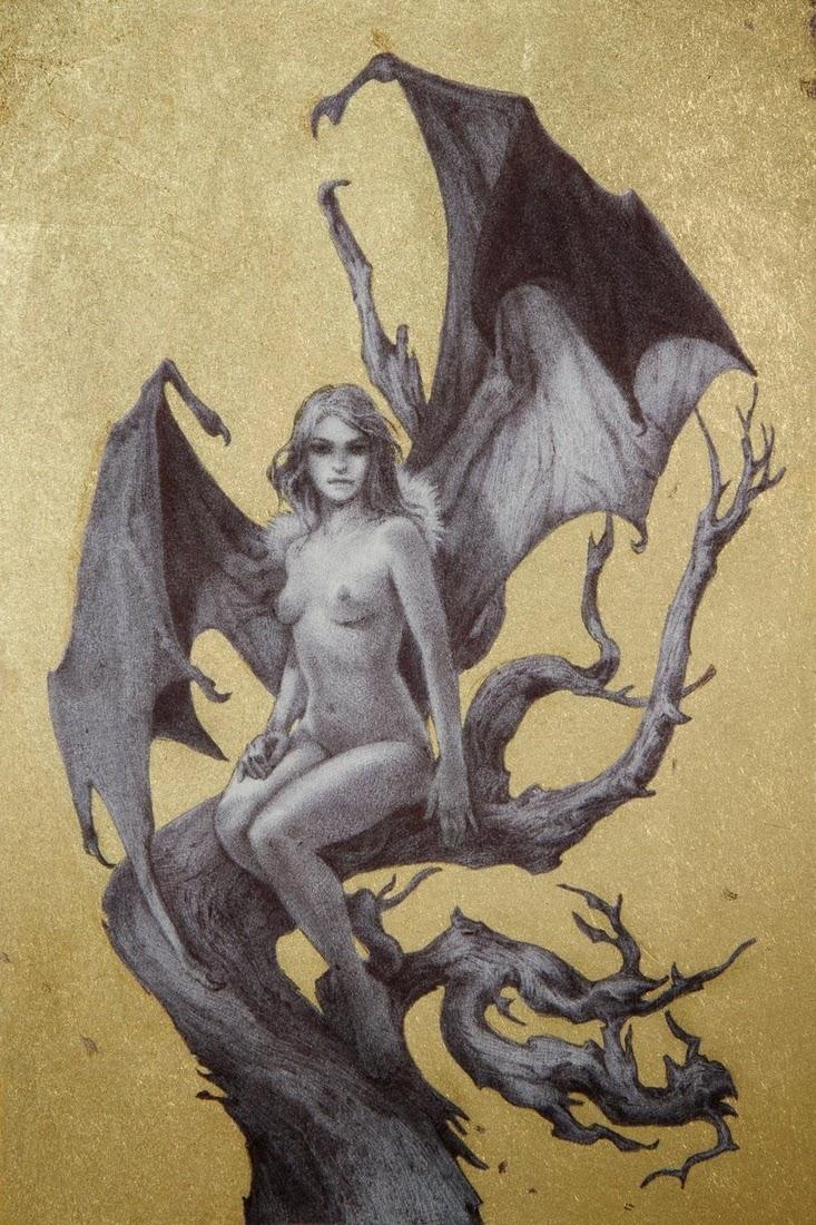 06-The-Watcher-Rebecca-Yanovskaya-Ballpoint-Pen-and-Gold-Leaf-Drawings-www-designstack-co
