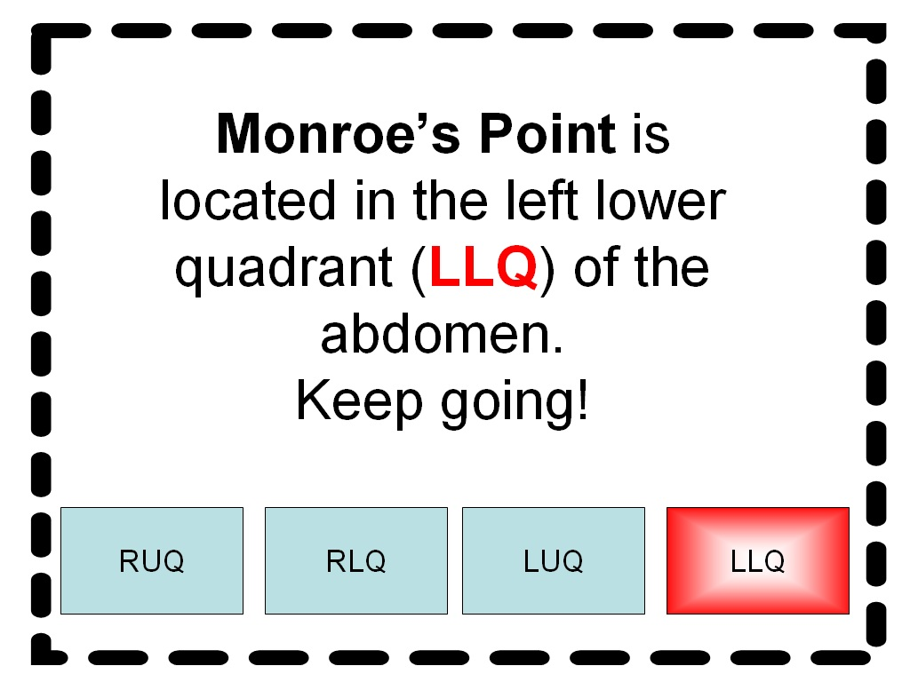 Student survive 2 thrive free medical terminology practice test monroes point in llq of abdomen ccuart Choice Image