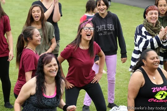 Centre: Alana Rahui, Napier, Zumba at a public concert at the Sound Shell, Marine Parade, Napier, to raise awareness about health and problem gambling photograph