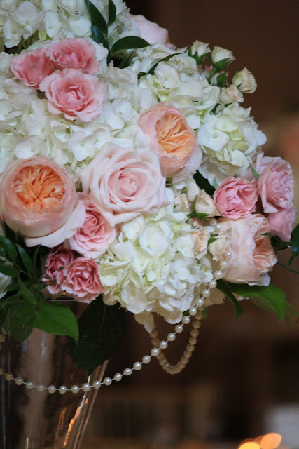 Saratoga Hall of Springs Tall Table Centerpiece with pearls - Splendid Stems Event Florals