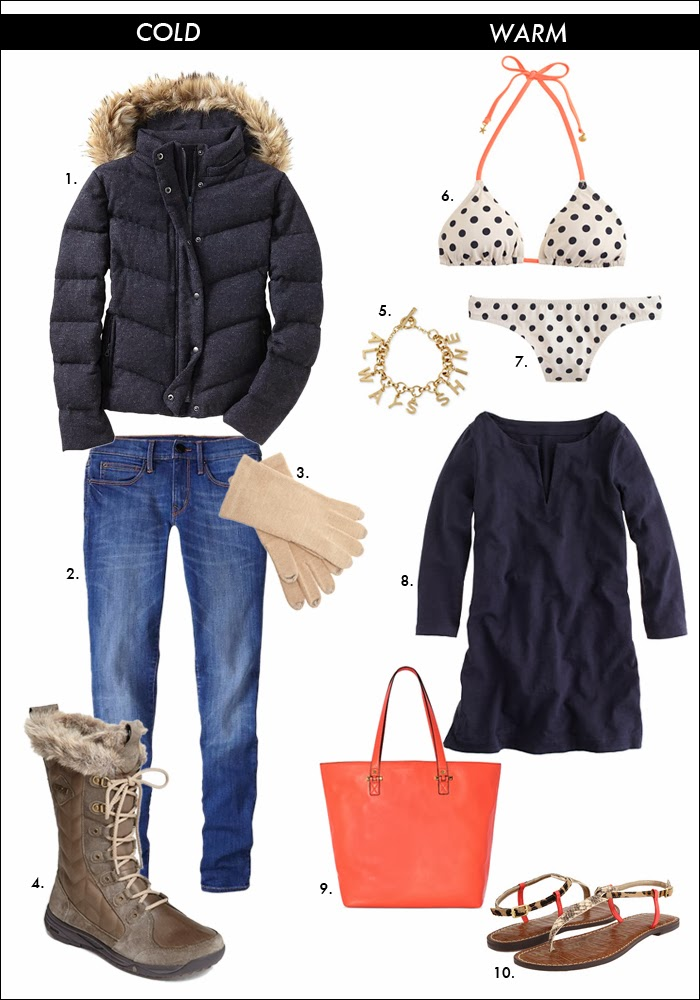 what to wear in cold, polka dot bikini, beach cover up, puffer jacket, lined boots, warm coat, beach look, what to wear vacation