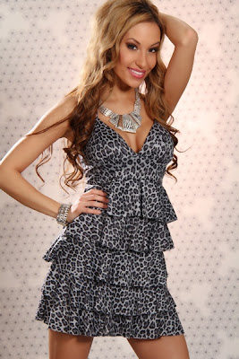 GREY LEOPARD PADDED EMPIRE WAIST TIER SEXY HALTER MINI DRESS
