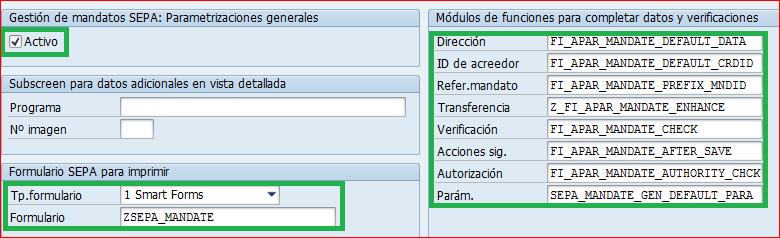 Parametrizaciones generales SEPA
