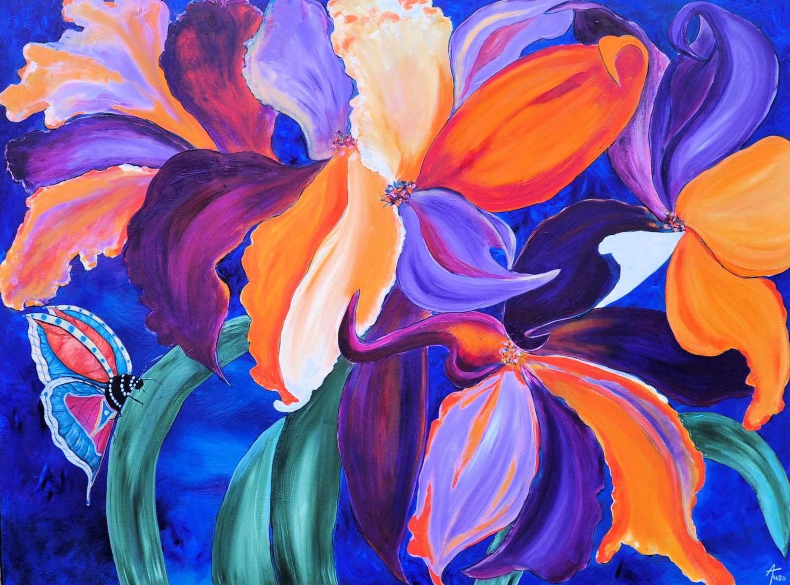 artists 39 now emerging tropical iris botanical purple blue orange tropical impressionist oil. Black Bedroom Furniture Sets. Home Design Ideas