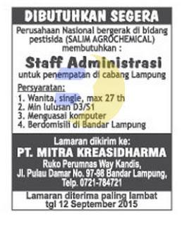 Karir Kerja Lampung, PT Mitra Kreasidharma