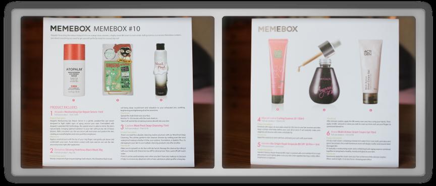 겟잇뷰티박스 by 미미박스 memebox beautybox global #10 unboxing review preview box paper card text info