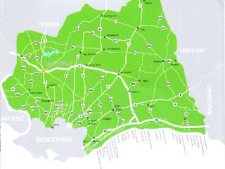 Mapa de Canelones. Turismo en Canelones. Uruguay