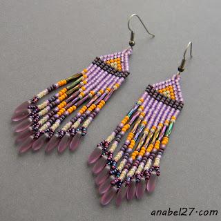 подарок девушке серьги бисерные сиреневые фиолетовые