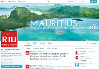 Page Twitter de RIU