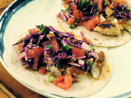 Tilapia tacos with cabbage slaw
