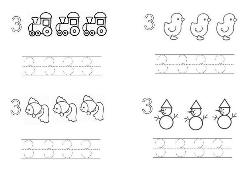 Famosos Atividades com o Numeral Três. - Aprender e Brincar LM98