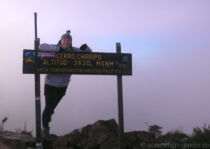 Posing at the summit of Cerro Chirripo, Costa Rica