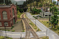 View of main roadway and track at center of layout
