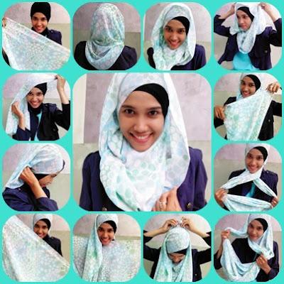 Cara Memakai Jilbab Shawl Shiffon Polkadot Style Belang
