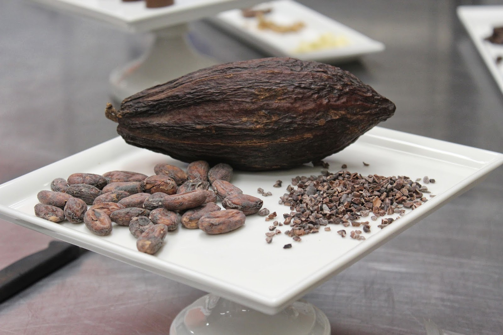 Cocoa pod and cacao nibs